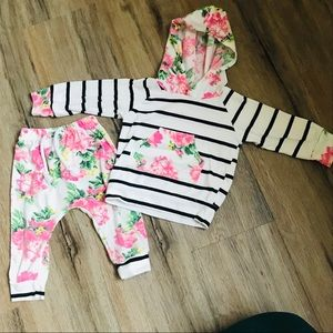 Other - Striped/Floral Pullover and Pant Set